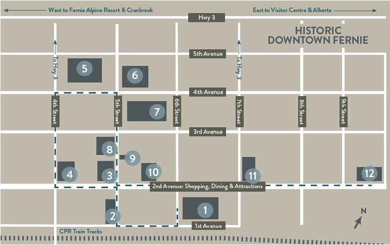 Fernie Heritage Walking Tour - Map Olny