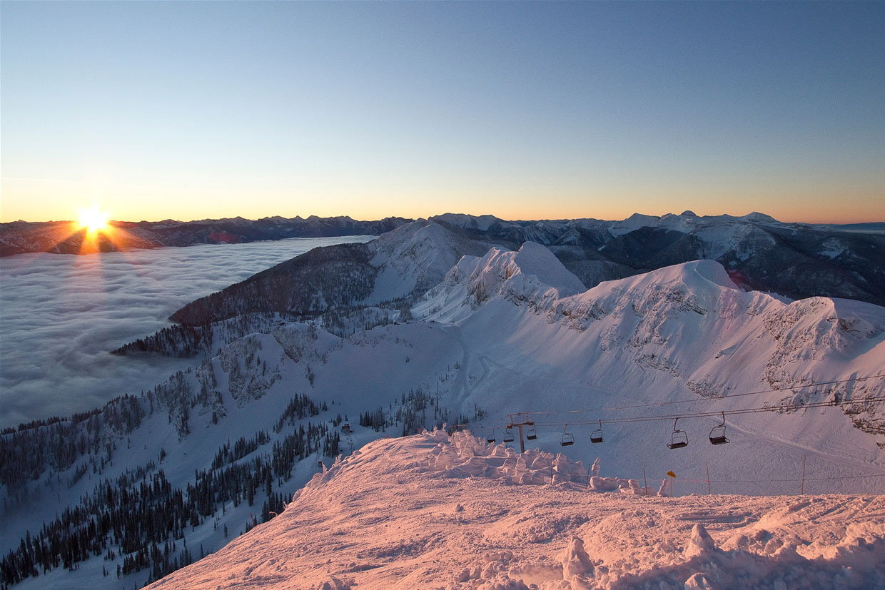 Sunrise view from Polar Peak at Fernie Alpine Resort