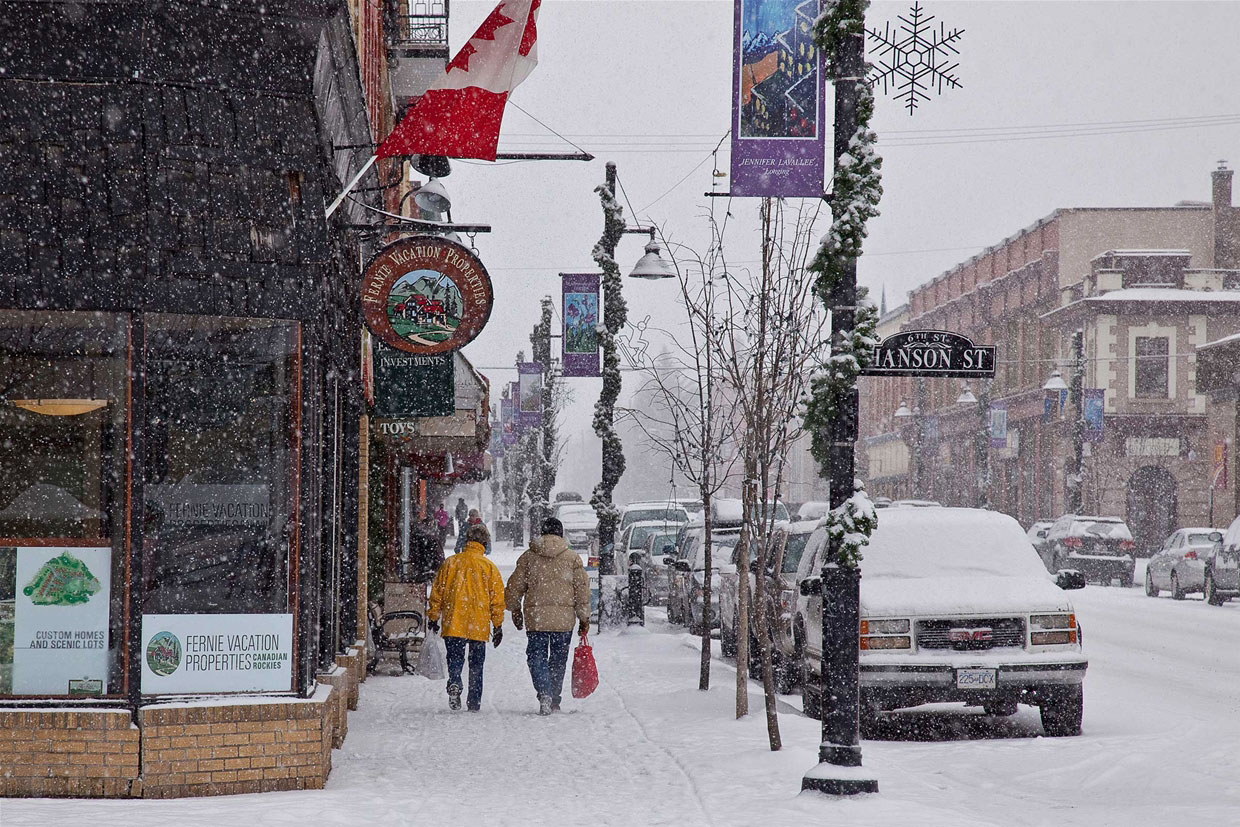 Snowy day in downtown Fernie