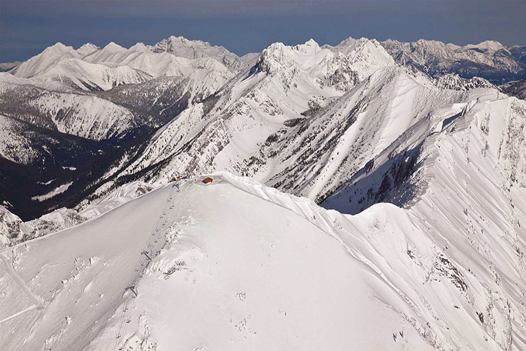 Aerial view of Polar Peak at Fernie Alpine Resort