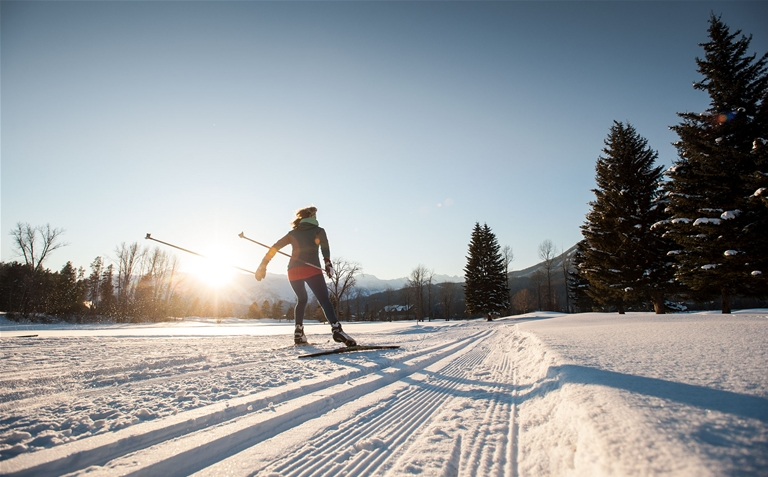 Cross-country skiing at Fernie Golf Course Trails