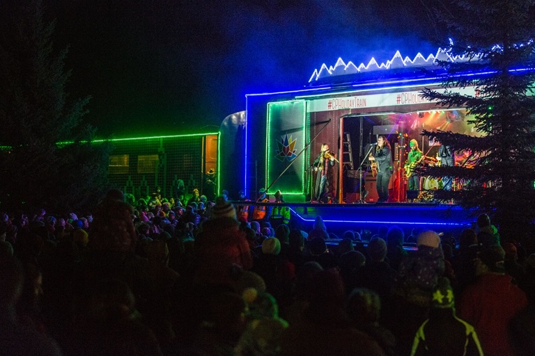 CP Holiday Train pulls into Fernie, BC with Alan Doyle in 2017