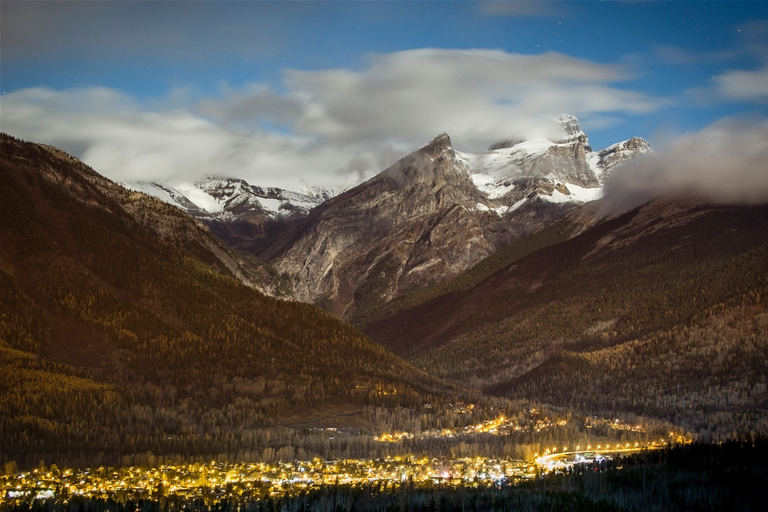 Fall evening overlooking Fernie from Castle Mountain