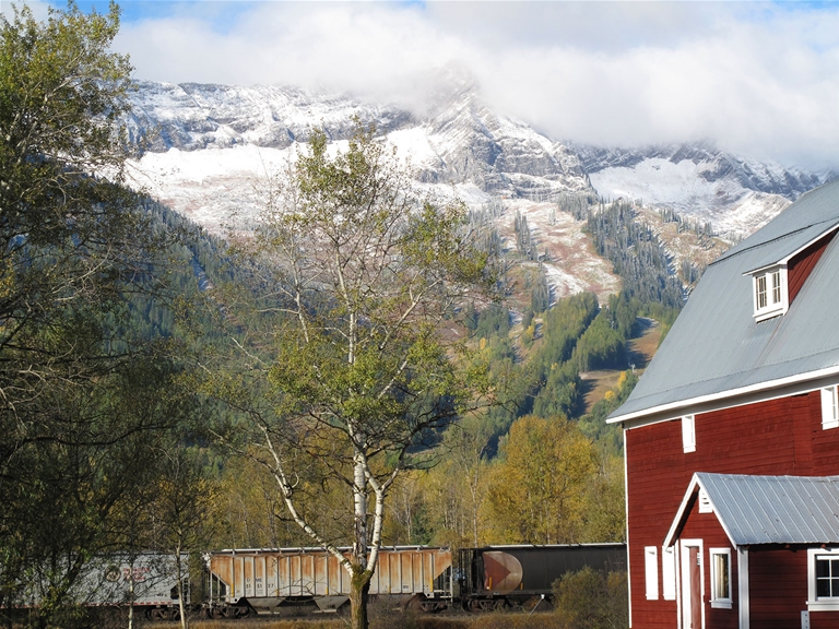 Early dusting of snow on the Lizard Range - Cokato Road Red Barn, fall season