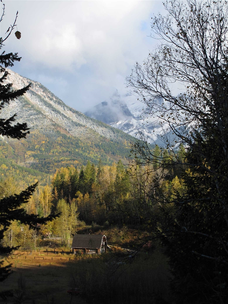 Early dusting of snow in Fernie during fall season. View from Cokato Road