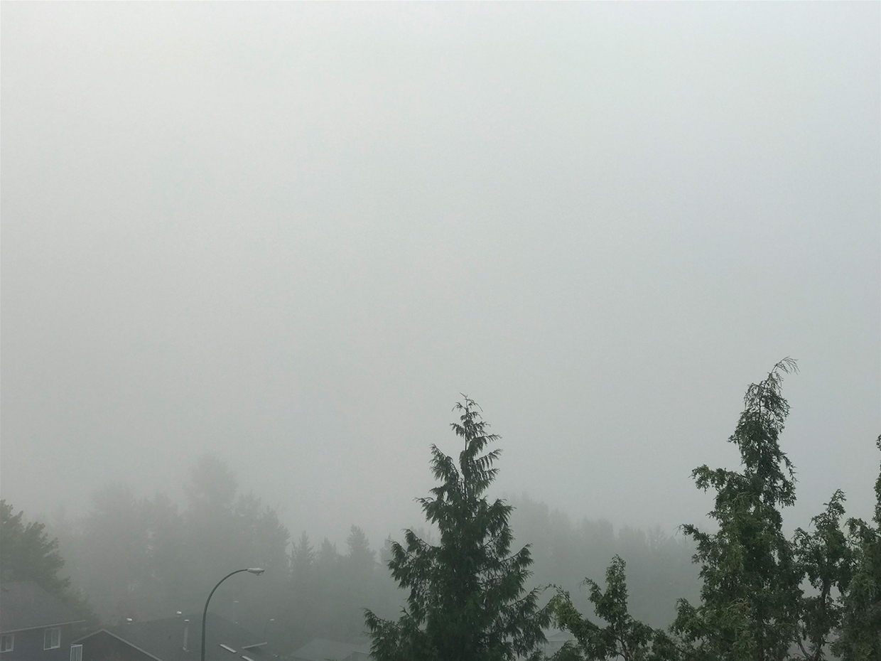 Foggy morning - Fernie sky at 8am Saturday August 25, 2018