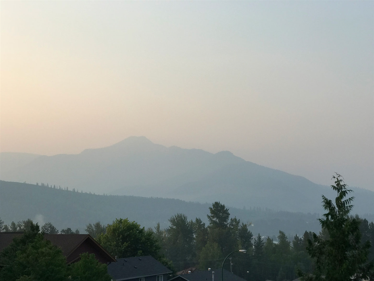 Fernie sky at 7:30am on Tuesday August 14, 2018 - Looking south