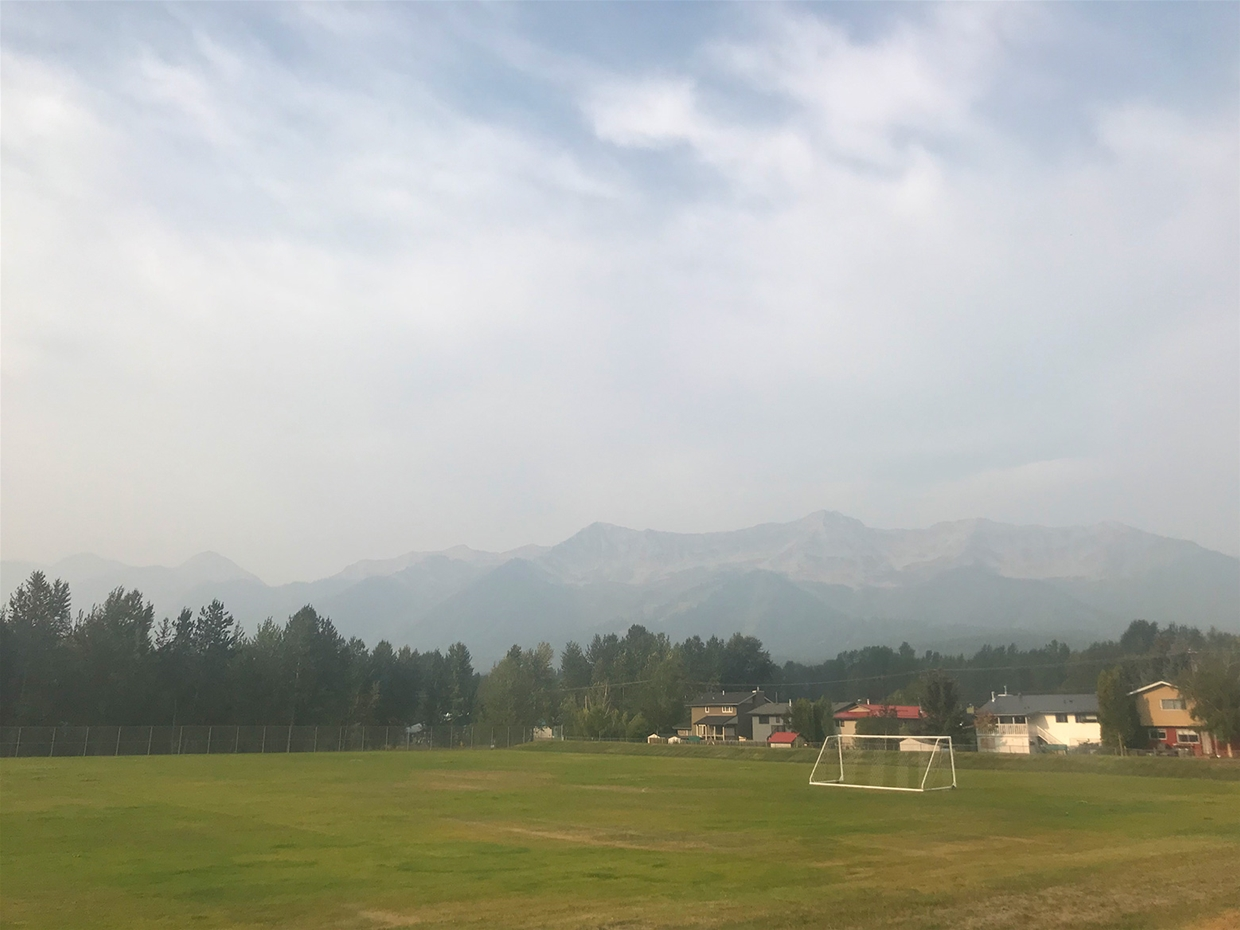 Fernie sky at 9:00am on Friday August 24, 2018 - Looking SW