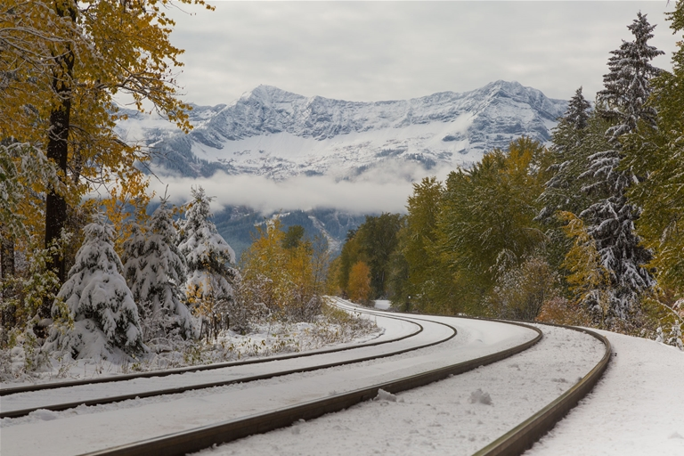Railway Line in fall snow