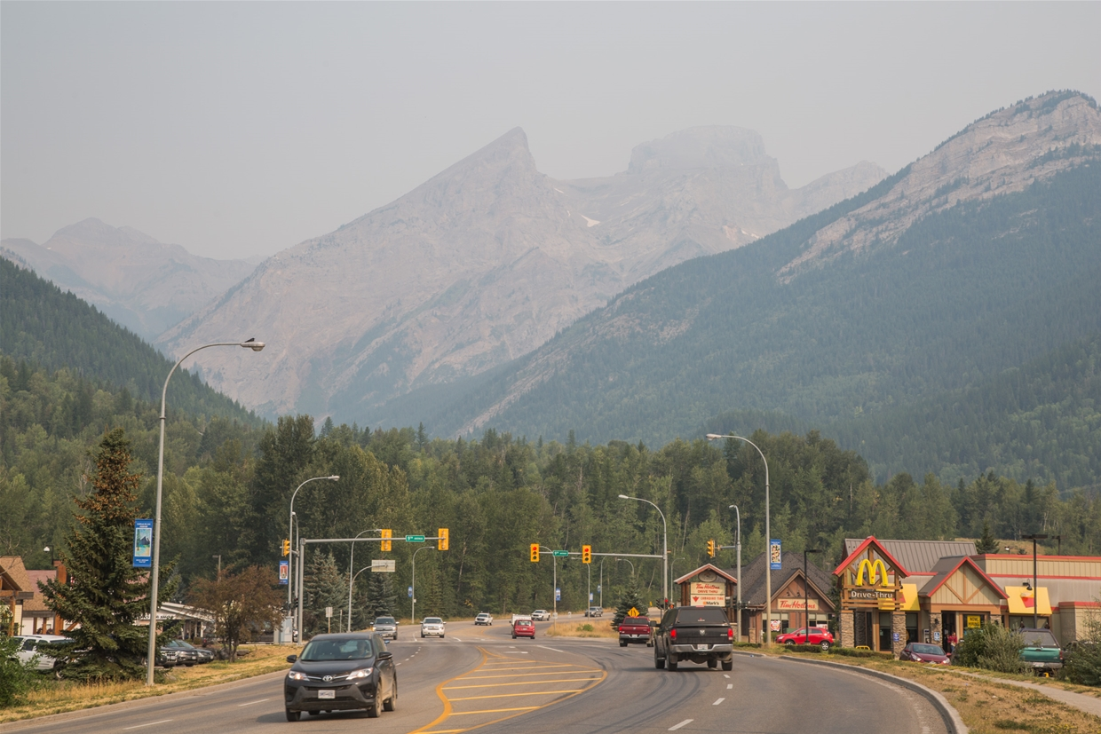 Fernie sky at 10:30am August 8, 2017 - Highway 3 looking North