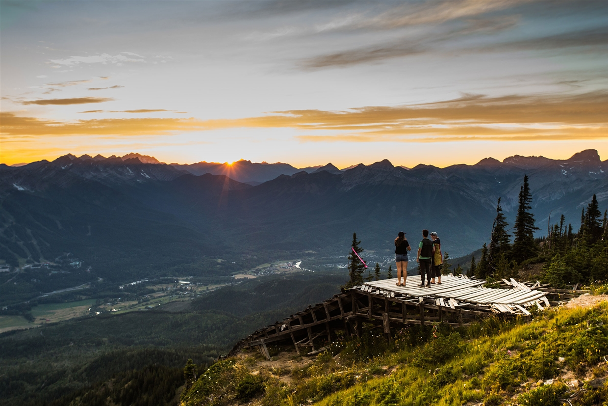 Morrissey Ridge over looking Fernie at sunset