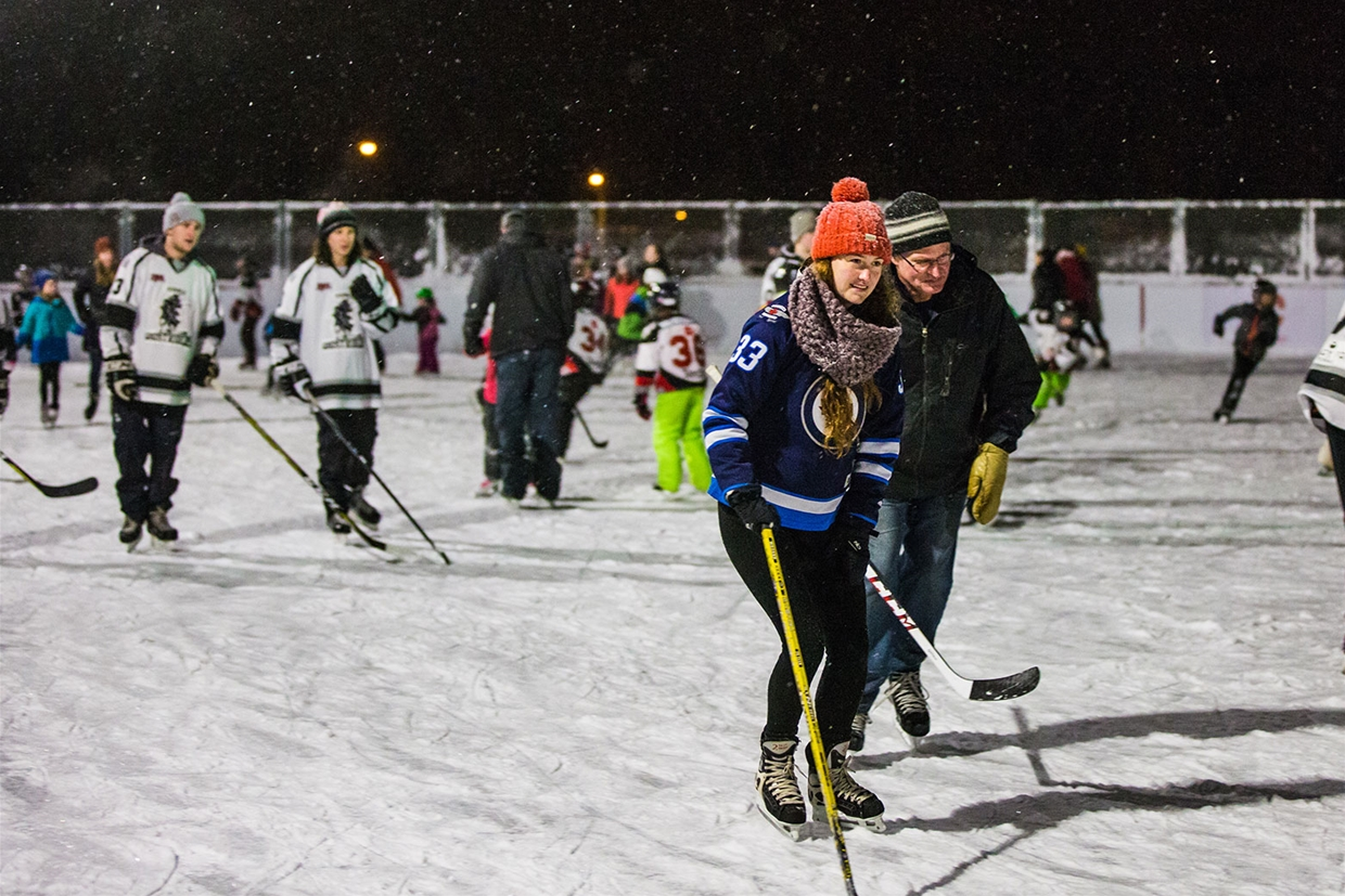 Snowy evening at the Grand Opening of the new Fernie Outdoor Hockey Rink
