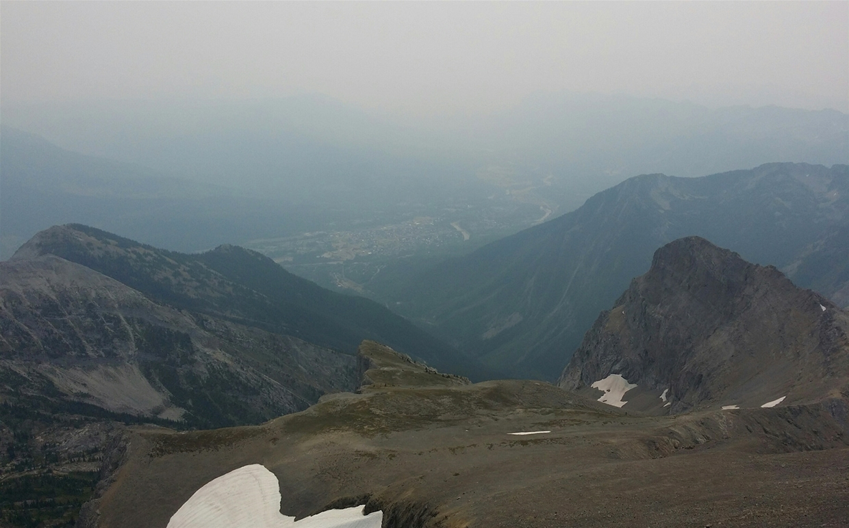 Fernie sky at 4:00pm August 7, 2017 - Looking down to Fernie from Three Sisters summit
