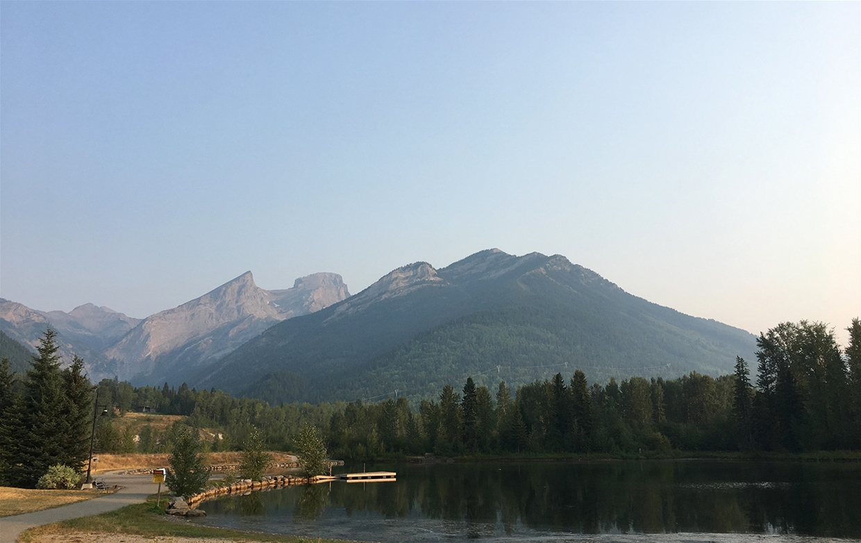 Fernie sky at 8:00am on August 9th - Maiden Lake looking towards the Three Sisters