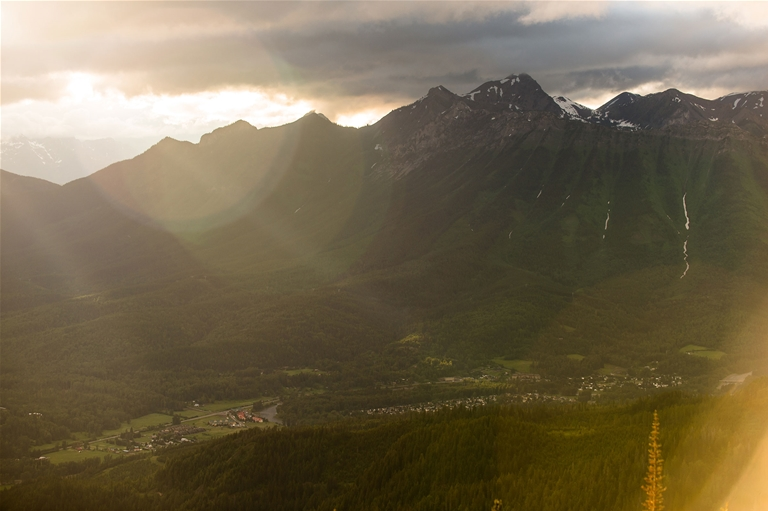 Scenic view of Fernie and the Rocky Mountains