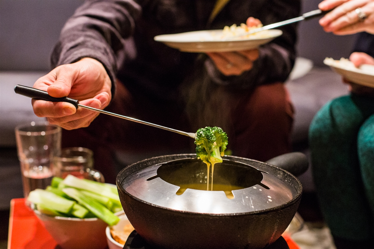 Raw veg are an excellent choice for fondue