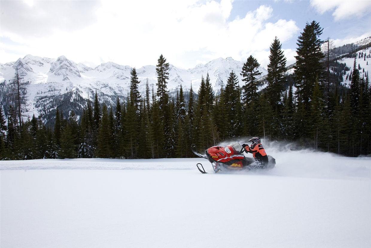 Snowmobile in Fernie pow