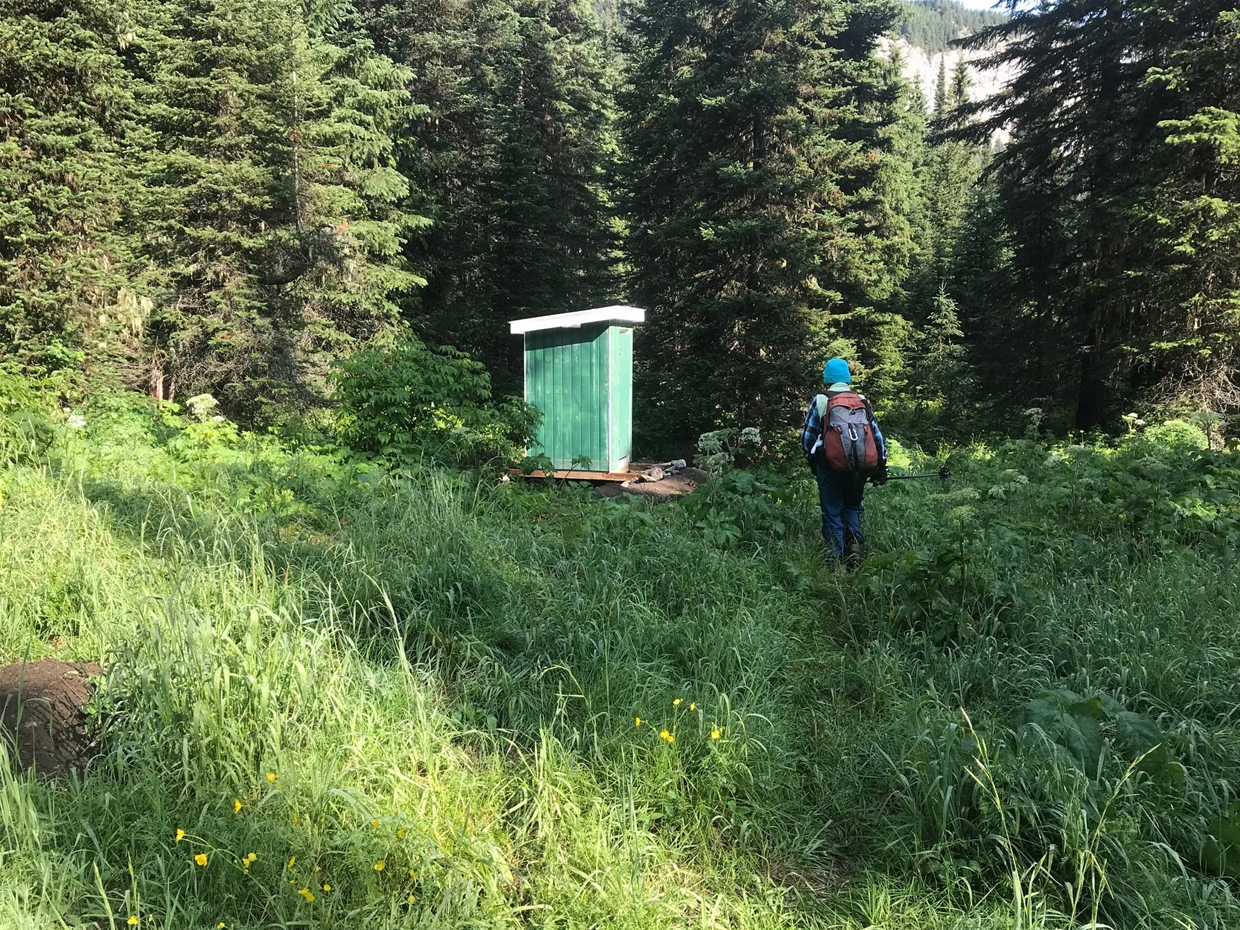 New pit toilet at trailhead, eastern side