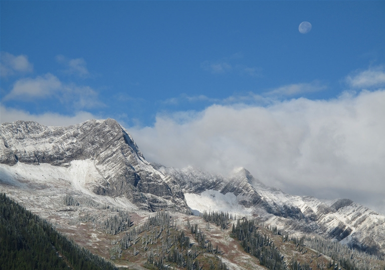 Dusting of snow on the Lizard Range of the Rocky Mountains, fall in Fernie