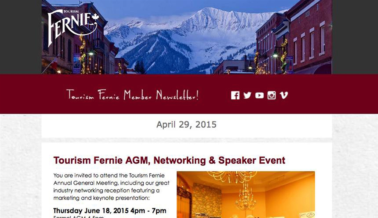 Tourism Fernie DMO April 2015 E-Newsletter