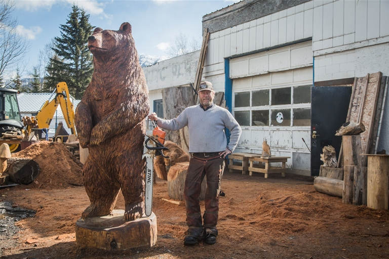 Grizzly Bear Carving