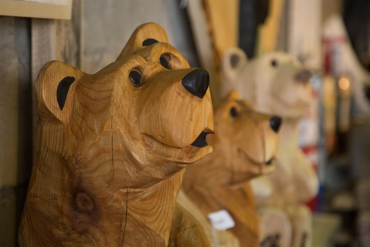 Wooden Bear Sculptures by Michael Penny
