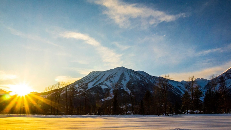 Winter sunset and Mount Fernie