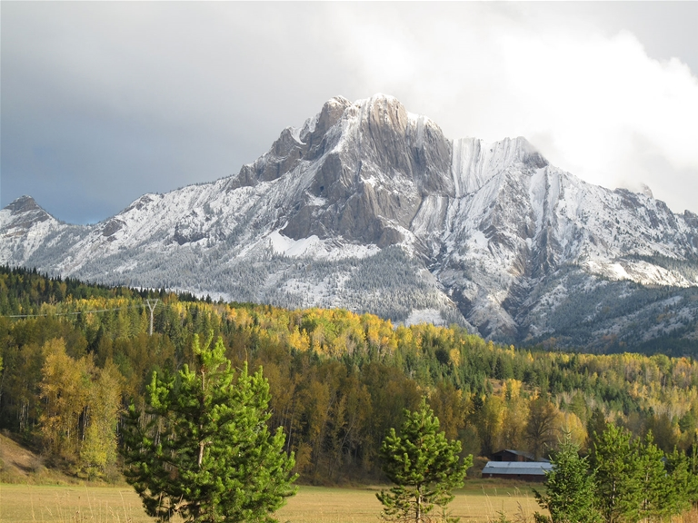 Mt Hosmer with a dusting of snow in fall season in Fernie BC