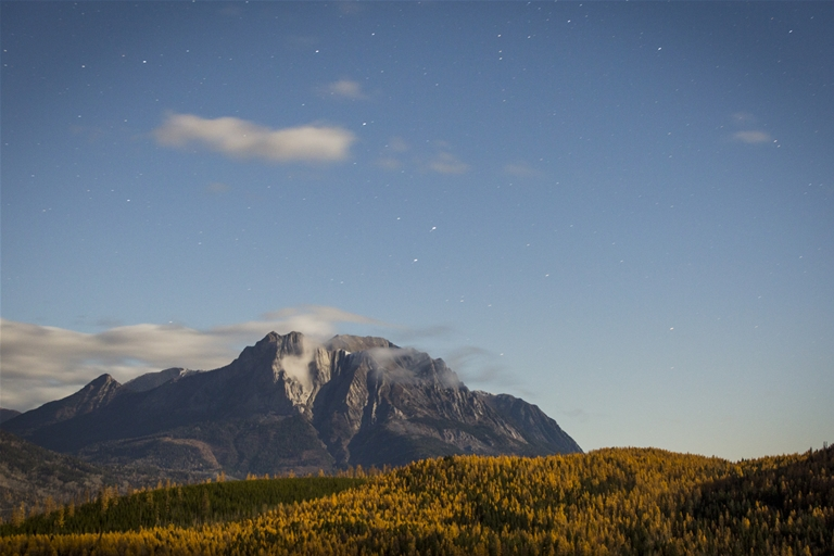 Mt Hosmer on a fall evening under the stars