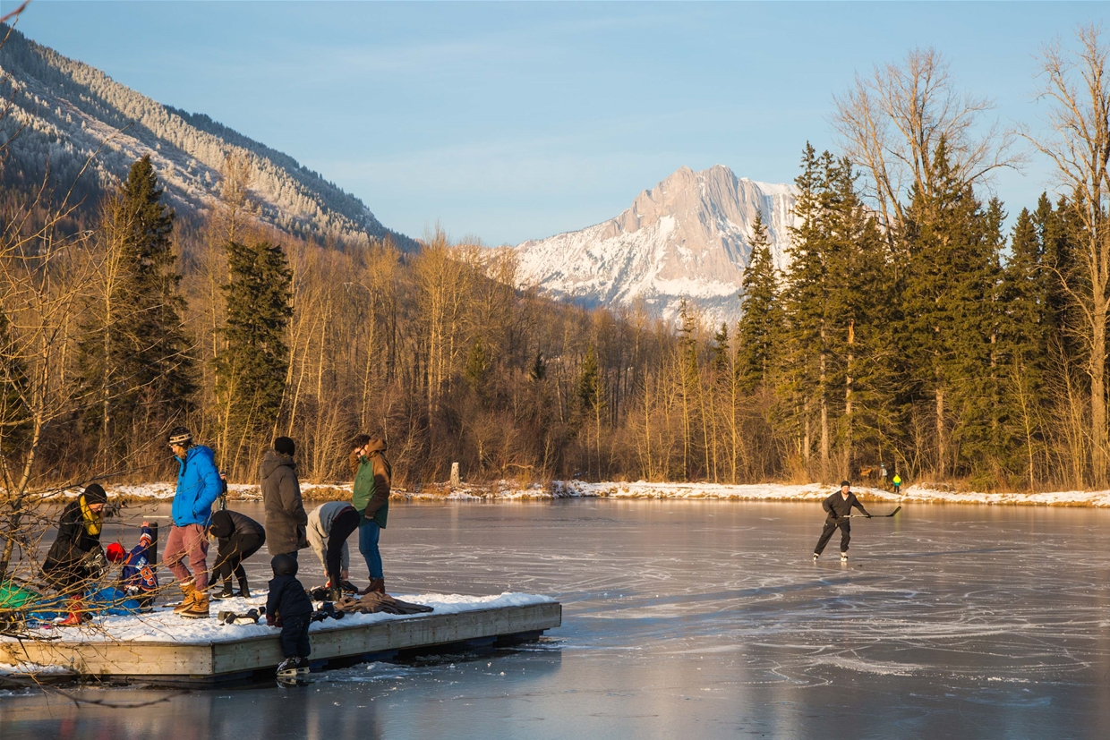 Locals ice skating on Maiden Lake