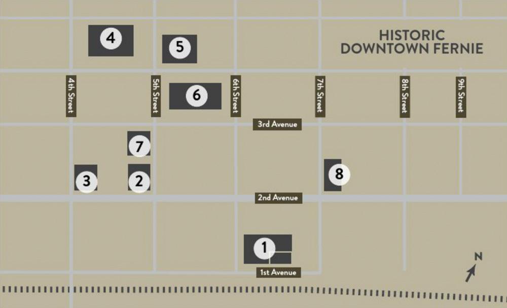 Fernie Downtown Historic Landmarks Map