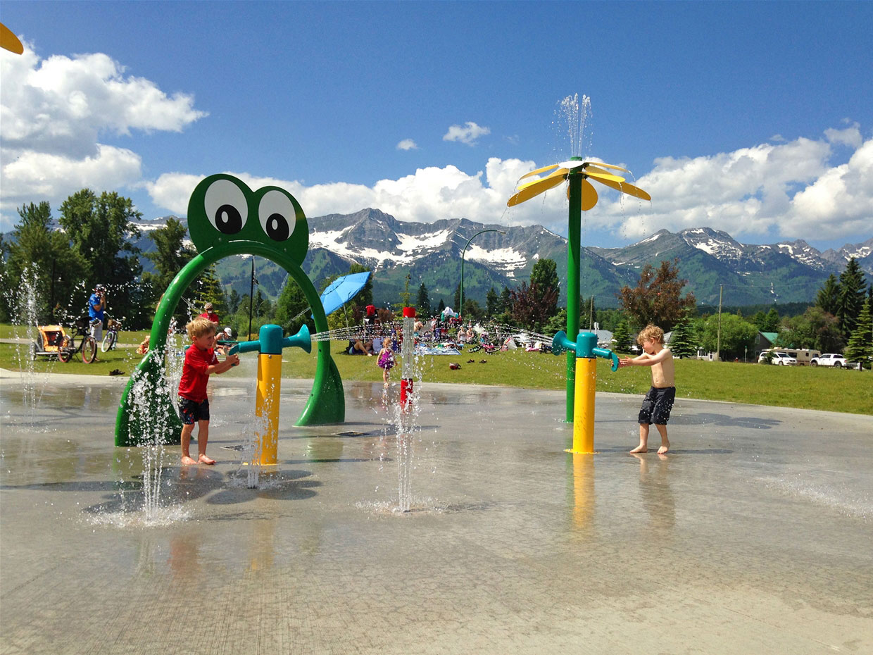 Cool down in the summer at the splash park.