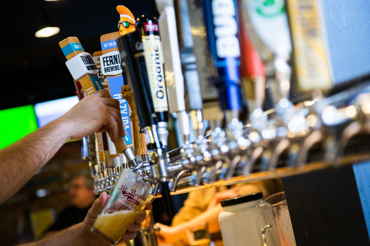 Wide selection of beers on tap at Fernie Hotel & Pub