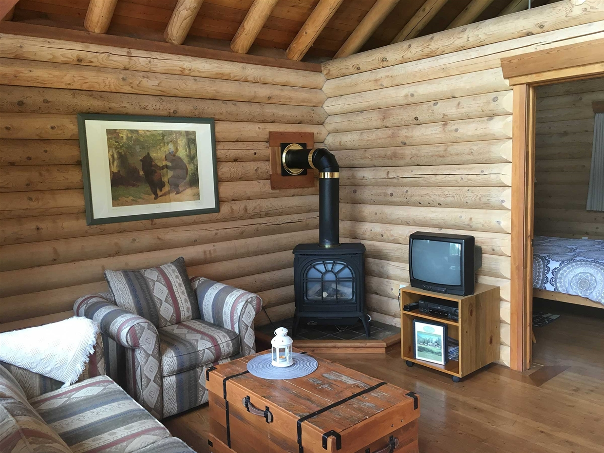 Living Area in Log Chalet / Cabin at Birch Meadows