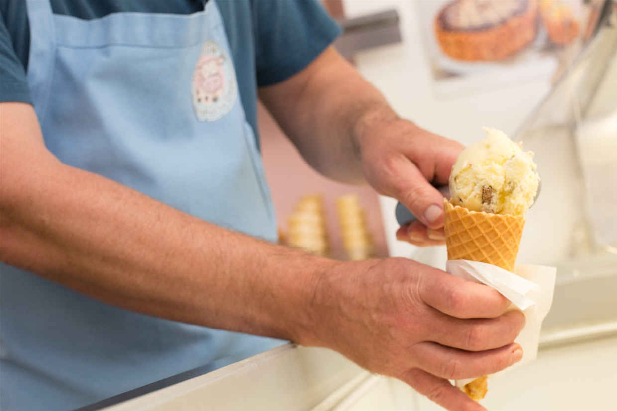 Handmade, hand packed, hand served ice cream