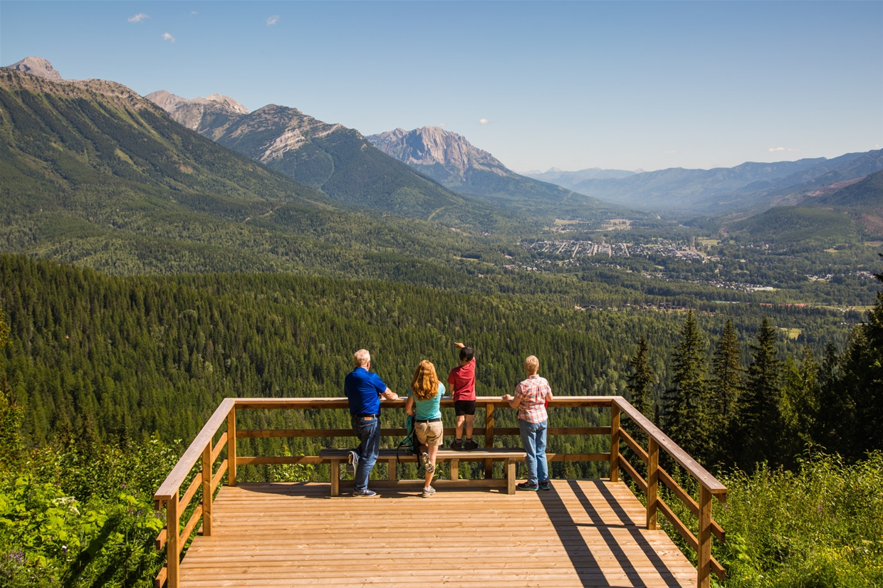 The Observation Deck at Elk Chair Top overlooks Fernie and the valley