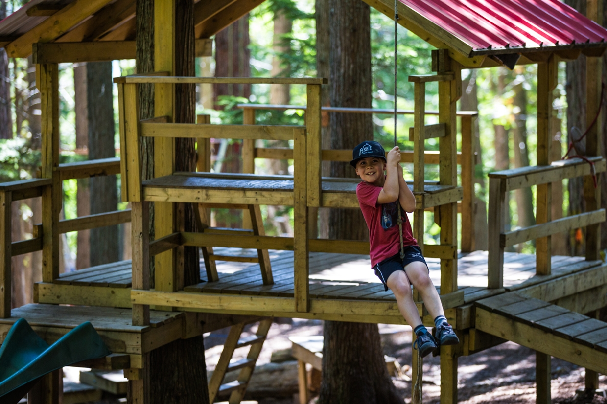 Ziplines for the little'uns at the free Mini park. Right by the Aerial Park