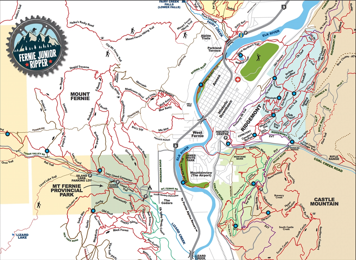 Fernie Little Ripper Trail Passport Map
