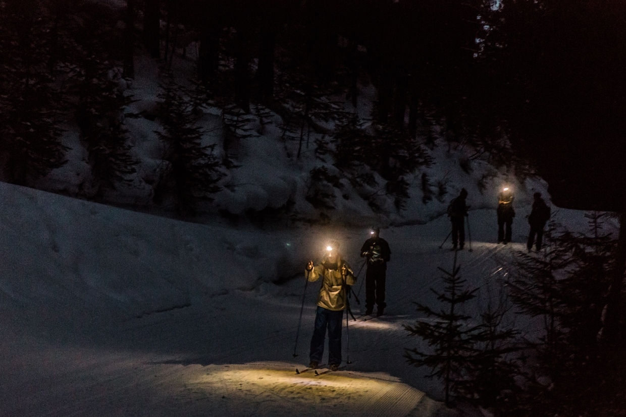 Bring a headlamp to open up to the exciting world of night XC skiing