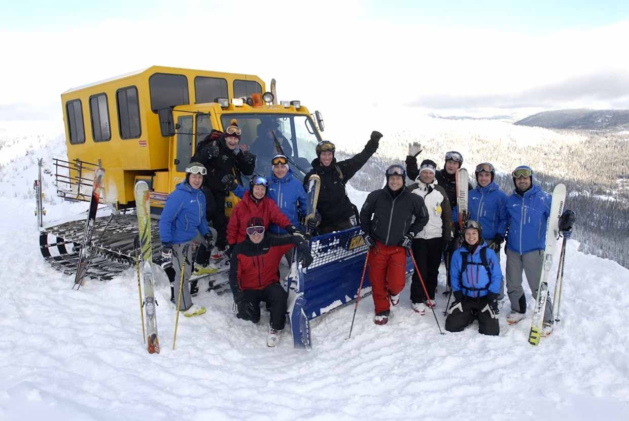 Happy group of FWA snowcat skiers