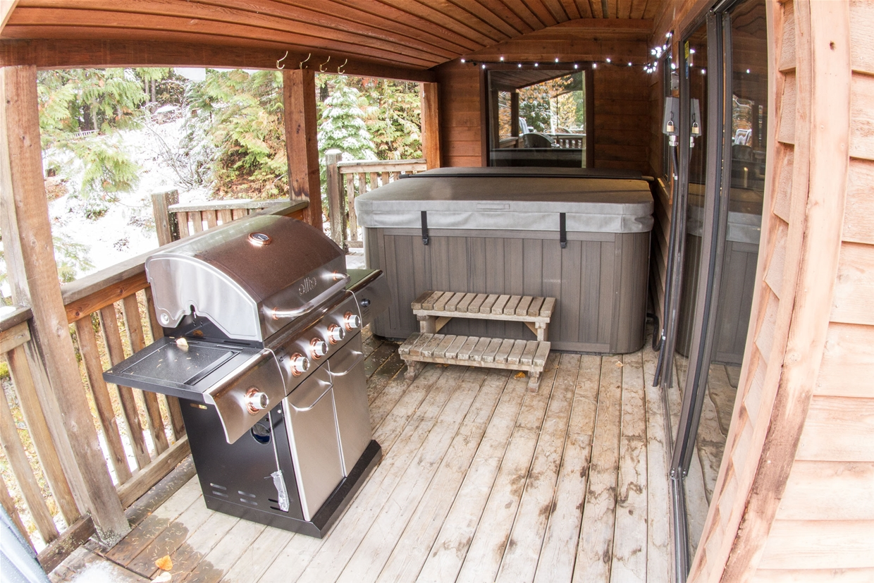 Patio ready with BBQ and hot tub.