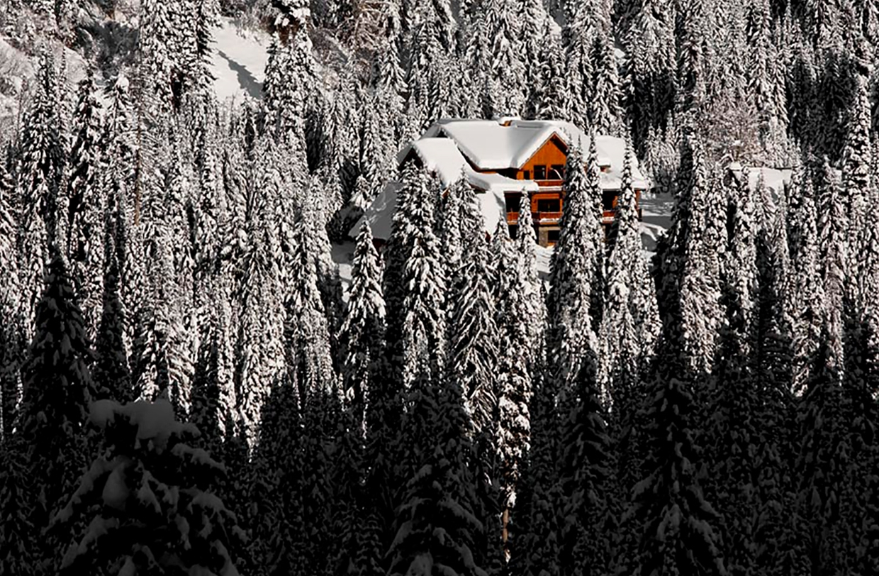 Lodge tucked in the wintery forest