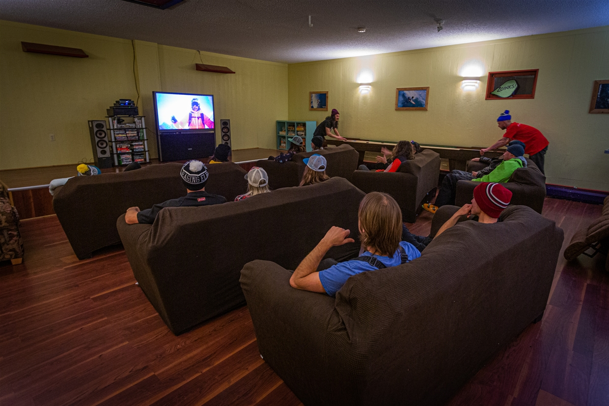 Movie room at Raging Elk Hostel