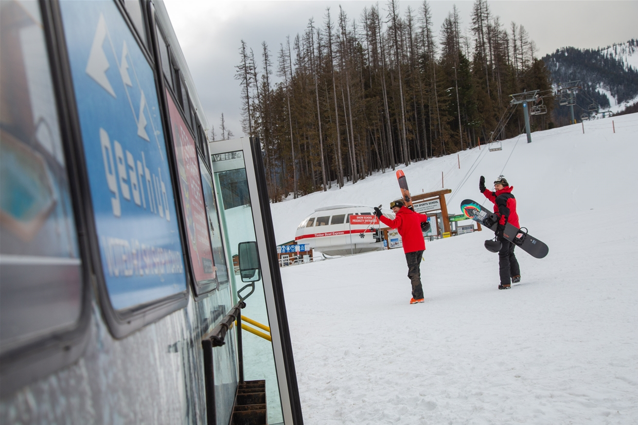 Shuttle Drop off right at the base of Timber Chair at Fernie Alpine Resort