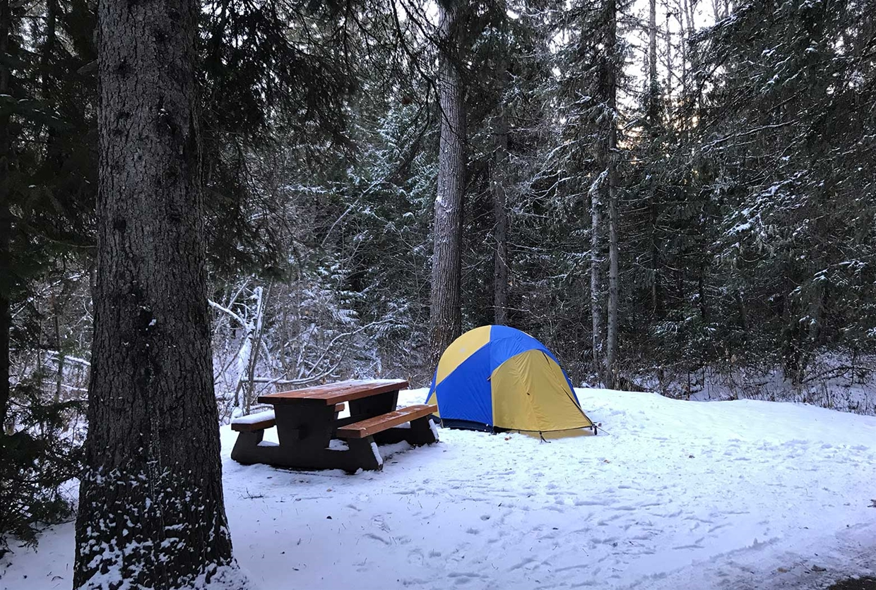 Limited camp sites during winter season, not maintained or plowed